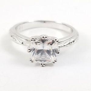 Diamonique Bloom Cut Platinum & Sterling Ring